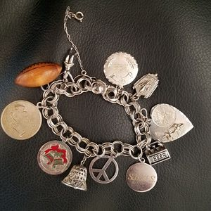 Vintage Sterling 925 Charm Bracelet with 11 Charms